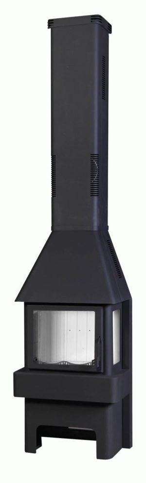 Печь-камин БАВАРИЯ ТРИ СТЕКЛА черная